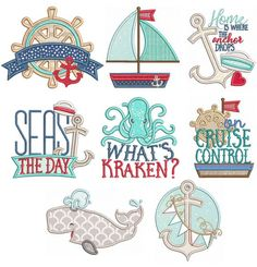 Nautical Word Art Designs by JuJu Exclusive 8 sea worthy designs for nautical lovers! 4 sizes included: and Embroidery Store, Machine Embroidery Applique, Embroidery Stitches, Embroidery Patterns, Learn Embroidery, Floral Embroidery, Word Pictures Art, Cruise Door Decor, Word Art Design