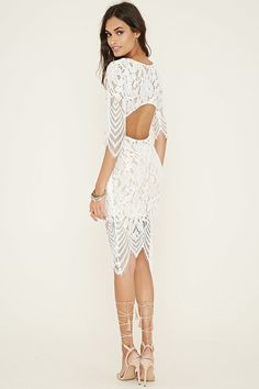 Nice Sheer Lace Dress Cutout-Back Floral Lace Dress...