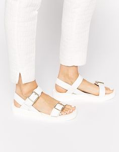 Glamorous White Double Strap Buckle Flat sandals