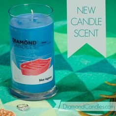 PIN NOW SHOP LATER! Blue Lagoon Diamond Candle: This refreshing blend of sparkling lime, kiwi fruit, and crushed spearmint leaves is completed with citrus zest and iced sugar crystals. And, you'll love diving into it to find your unique personal prize!