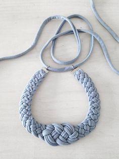 statement necklace fabric necklace jersey fabric necklace textile jewelry tribal necklace braided necklace choker The knot necklace Braided Necklace, Knot Necklace, Tribal Necklace, Knitted Necklace, Handmade Necklaces, Handmade Jewelry, Beaded Earrings, Beaded Bracelets, Macrame Colar