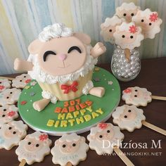 Sheep Giant Cupcake & Cookie Pops for 307 Babies's 2nd Birthday!!