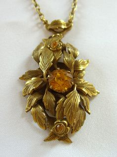 Czech Amber Glass Necklace Art Nouveau Lavalier Jewelry via Etsy