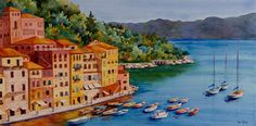 Portofino Sunrise, Italian Riviera watercolor. Heidi Rosner watercolors feature European & Southwest landscapes, floral, botanicals, still lifes. Commissions available.