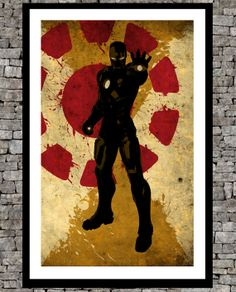 Ironman avengers - Original art  illustration super hero art print -  retro paper page - Vintage marvel art movie print. on Etsy, $19.00