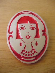 Vintage Ivory Celluloid Art Deco Painted Red Lady Pin