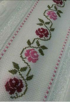 Crochet Lace Edging, Crochet Doilies, Cross Stitch Borders, Cross Stitch Designs, Embroidery Motifs, Bookmarks, Floral, Crafts, Cross Stitch Font