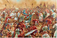 Zama, el feroz choque entre los veteranos de Aníbal y los legionarios de Escipión, y que se decantó cuando la caballería númida aliada de los romanos atacó la retaguardia cartaginesa. Cortesía de Peter Dennis. La mejor colección de láminas militares en http://www.elgrancapitan.org/foro/