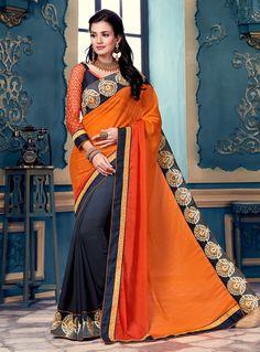 Orange Georgette Festival Wear Saree 94072