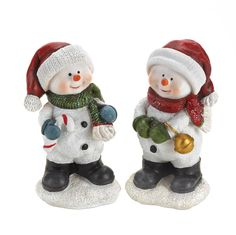 $9.95 #10016055 HAVING FUN SNOWMAN BUDDIES  Celebrate the holiday with help from this charming duo of snowmen. They are ready to turn your tabletop into a showcase of jolly tidings and yuletide cheer with their winter caps, sparkling scarves, and smiling faces. One holds a candy cane while the other has a jingle bell!