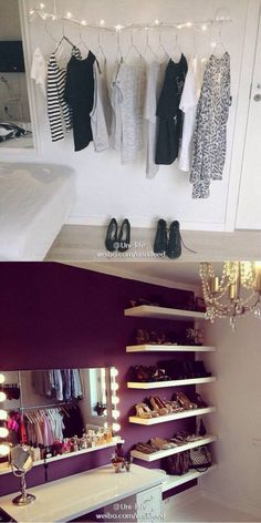 i love the idea of the floating shelves as shoe storage/display