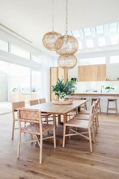 Simple And Natural Home Design Ideas To Have Simple Of Life - Home trends change along with the needs of consumers and of the general population. Modern home design aims to satisfy those changing needs by providi. Dining Room Design, Dining Area, Kitchen Dining, Kitchen Decor, Woven Dining Chairs, Dining Tables, Open Kitchen, Room Kitchen, Light Oak Dining Table