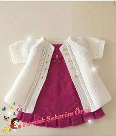 July Duarte's 655 Media Content And Ana - Diy Crafts - hadido Baby Sweater Patterns, Baby Cardigan Knitting Pattern, Knitted Baby Cardigan, Baby Dress Patterns, Baby Knitting Patterns, Knitting Designs, Diy Crafts Knitting, Knitting For Kids, Easy Knitting