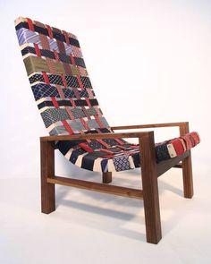 NINA'S APARTMENT - Vintage * Upcycled * Handmade * Homeware: February 2009 Upholstered Furniture, Diy Furniture, Recycled Furniture, Chair Upholstery, Chair Cushions, Vintage Furniture, Diy Design, Old Ties, Woven Chair