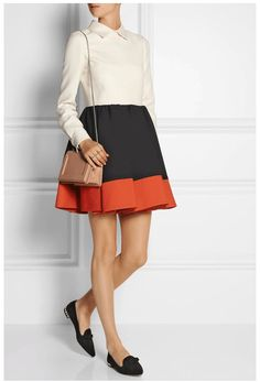 Fall 2014 outfit: color-blocked mini dress. Look can also be created with separates.