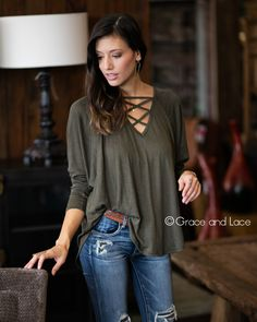 Grace and Lace - (**new item**) Criss Cross Raglan Top, $36.00 (http://www.graceandlace.com/all/new-item-criss-cross-raglan-top/)