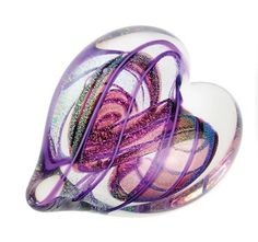"""Heart of Fire Amethyst"" paperweight"" by Glass Eye Studio"