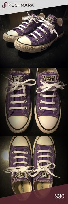 ! $$ DROP TONIGHT ONLY ! Purple Converse All Star Excellent condition purple low top converse. Clean, new laces, sanitized, and ready for their new home! Offers welcome. Converse Shoes Sneakers