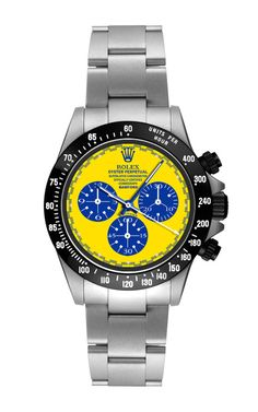 Steel Daytona Paul Newman With Blue, White, And Yellow Dial by Bamford for Preorder on Moda Operandi