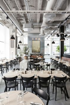 Usine is a beautiful brand new concept that combines a restaurant, bar, cafe and conference spaces in a former factory building in Stockholm.