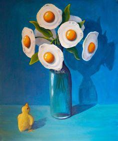 Surreal artworks by Australian artist Tank Surreal Artwork, Drawn Art, No Bad Days, Surrealism Painting, Egg Art, Buy Art Online, Arte Pop, Objet D'art, Poster