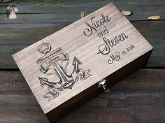 Nautical anchor personalized and custom Double wine box for two bottles - Card and gift boxes (*Amazon Partner-Link)