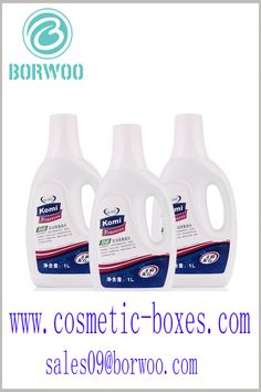 Waterproof label for laundry detergent bottles. The waterproof label can be stored for a long time in a high humidity environment. Blister Packaging, Perfume Packaging, Bottle Packaging, Cosmetic Labels, Cosmetic Box, Cosmetic Packaging, Detergent Bottles, Laundry Detergent, Cardboard Boxes With Lids