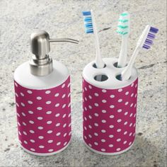 Polka dots soap dispenser & toothbrush holder - pattern sample design template diy cyo customize