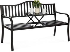 ThisCast Iron Patio Garden Bench Seat Middle Table is designed with a. Cast Iron Patio Garden Bench Seat Middle Table Features This classic bench comfortably sits people for relaxation by the pool or on a patio. Porch Chairs, Patio Bench, Outdoor Chairs, Outdoor Decor, Bench Seat, Black Outdoor Bench, Table Bench, Garden Benches, Bench Furniture