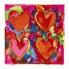 Jim Dine Four Hearts. Greetings card.