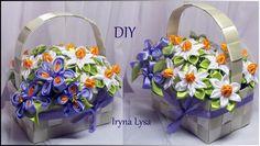♡DIY Kanzashi flowers/ МК: Квіти канзаші у кошику /МК: Цветы канзаши в к...