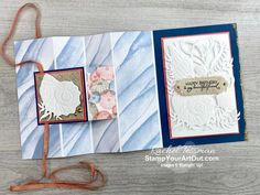 Click here to see a version of the fun fold card I received from Sara & Shelli when I hit my million-dollar sales milestone using products from the Sand & Sea Suite: Friends Are Like Seashells Stamp Set, the Seaside Seashells Dies, the Seashells Embossing Folder, the Opal Rounds, and the Sand & Sea Designer Paper. Access measurements, more photos, a how-to video with directions, and links to the products I used. - Stampin' Up!® - Stamp Your Art Out! www.stampyourartout.com #stampyourarto... Fun Fold Cards, Folded Cards, Paper Design, Book Design, Happy Birthday Me, Birthday Cards, Online Paper, Friends Are Like, Stamping Up Cards