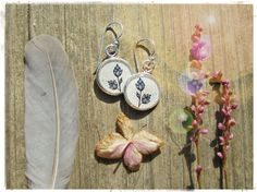 LAVENDER BRANCH EARRINGS - 925 Sterling Ear-wires - Wearable Art Jewelry - Illustrated Jewelry Nature Lover Beautiful Spring Jewelry