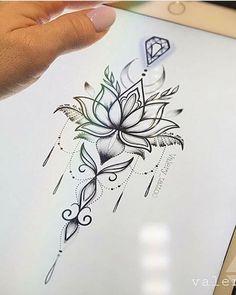 tatoo fleurs lotus seule