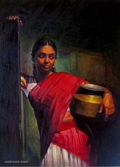 Tamilnadu woman Paintings : Elayaraja has breathed life into the faces and lives of uncaptured people. the common crowd in everday moments of life. Exquisite innocent expresions with delicate play of light and fine details will captivate you with its like realism.a reflections of his thoughts each painting reaches out to you with the naive eyes of its subjects engrossed in their own little world of regular work