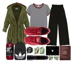 """""""Comfortable flight"""" by lauraseidlova ❤ liked on Polyvore featuring Monki, adidas, Royce Leather, MAC Cosmetics, Topshop, Urbanears and The Row"""