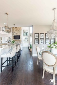 Transitional Lighting for Breakfast Nook and Kitchen with Chandelier and Pendant Lighting