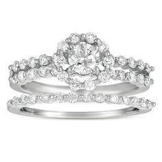 $799.95 for 1 ct SI2-I1 Diamond 14k White Gold Halo Engagement Ring Bridal Set Wedding Band
