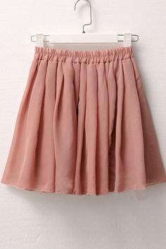 Pure Colored Elastic Waist Pleated Chiffon Skirt