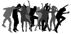 Party dancer people, girls and boys vector silhouette illustration. Nightlife party concept with crew dancing.