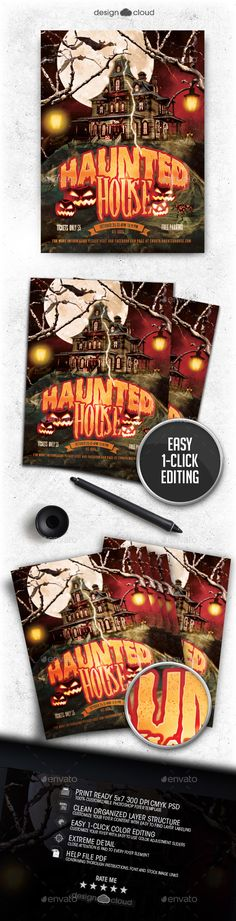 Haunted House Flyer Template PSD #design Download: http://graphicriver.net/item/haunted-house-flyer-template/13065070?ref=ksioks
