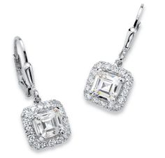 These classic princess-cut cubic zirconia earrings are upgraded with a halo of round czs for added sparkle and contempor-WTV0Xf6G