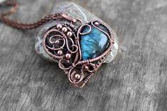 Labradorite pendant Wire wrap pendant Heart necklace Birthday gift Labradorite necklace Modern pendant Valentines gift for Girlfriend by TiKorali