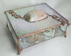 Large Iridescent Clear Stained Glass Jewelry Box by KeiberGlass