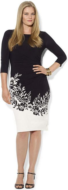 Lauren Ralph Lauren Plus Size Three-Quarter-Sleeve Border-Print Dress