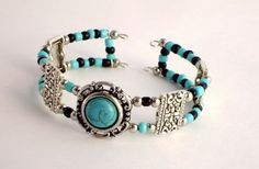 Turquoise and Silver Beaded Cuff Bracelet Memory Wire Memory Wire Jewelry, Memory Wire Bracelets, Jewelry Bracelets, Jewelery, Beaded Cuff Bracelet, Heart Bracelet, Beaded Jewelry, Beaded Necklaces, Wire Earrings