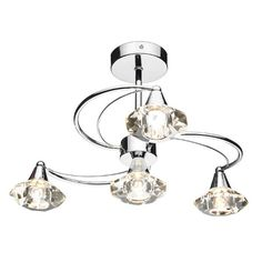 The Luther Semi Flush Ceiling Light by Dar has a Polished Chrome finish with Crystal Glass Shades. This four light fitting is perfect where ceiling height is an issue without Lighting Bugs, Dar Lighting, Types Of Lighting, Ceiling Lighting, Ceiling Height, Semi Flush Lighting, Semi Flush Ceiling Lights, Direct Lighting, Luther