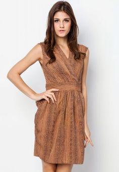 Stud Detail Pocket V Neck Dress