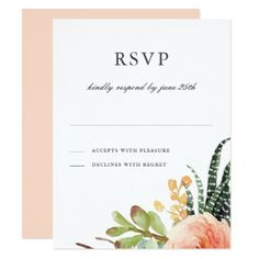 Elegant Watercolor Succulent RSVP | Wedding Reply Card - reply diy cyo unique personalize customize