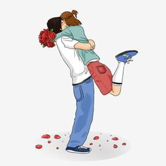 Tanabata Couple Hug Illustration Valentines Day Romantic Hug Rose Couple Hugging Warm Illustration Romantic Tanabata Hug PNG and PSD Valentines Day Drawing, Valentines Day Couple, Love Cartoon Couple, Cute Love Cartoons, Hug Cartoon, Romantic Hug, Hugging Drawing, Hug Illustration, Couple Clipart